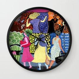 Summer Shoppers Wall Clock