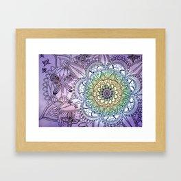 Purple Butterfly Mandala Framed Art Print