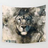 camouflage Wall Tapestries featuring LION CAMOUFLAGE by RIZA PEKER