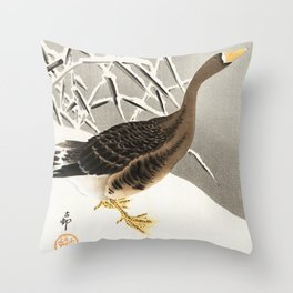 Goose in the snow - Vintage Japanese Woodblock Print  Throw Pillow