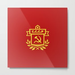 Communist Hammer Sickle Insignia Metal Print