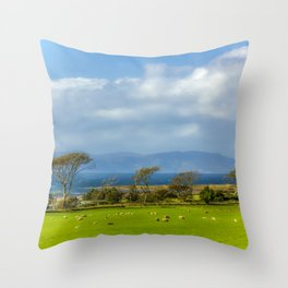 Isle of Arran from Portencross in Ayrshire Throw Pillow
