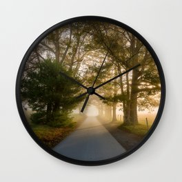 Daylight and Mist - Road with Warm Light in Great Smoky Mountains Wall Clock