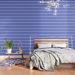 Cobalt Blue and White Wide Cabana Tent Stripe Wallpaper