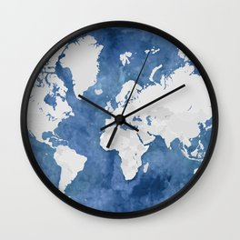 Navy blue watercolor and light grey world map with countries (outlined) Wall Clock