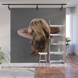 1784s-MS Seated Blond Woman Implied Nude Wall Mural