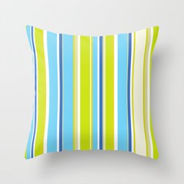abstract geometric summer fashion bright colorful lime green light blue stripes  Throw Pillow
