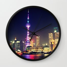 Shanghai Cityscape At Night Wall Clock