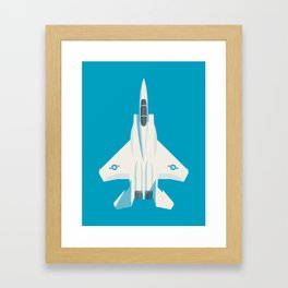 F15 Eagle Supersonic Jet Aircraft - Cyan Framed Art Print