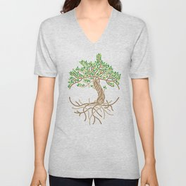 Rope Tree of Life. Rope Dojo 2017 white background Unisex V-Neck