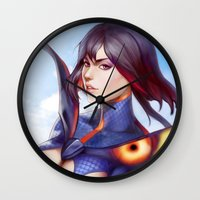 kill la kill Wall Clocks featuring Kill la Kill: Ryuko Matoi by WeijiC