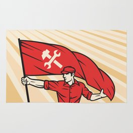 worker holding a flag - industry poster (design for labor day) Rug
