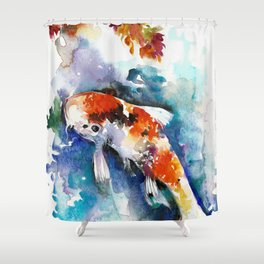 Koi Fish in the Pond - Zen Watercolor Shower Curtain