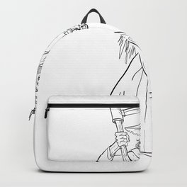 Ankou Graveyard Watcher With Scythe Drawing Black and White Backpack