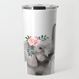 Baby Elephant with Flower Crown Travel Mug