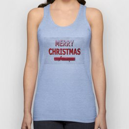 Merry Christmas With Red Cracker in Snow Unisex Tank Top