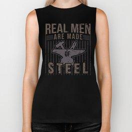 Real Men Are Made Of Steel Worker Blacksmith Shirt For Craftsman / Craftsmanship And Blacksmithing Biker Tank