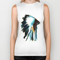 headdress Biker Tanks featuring Headdress by a collection. James Peart