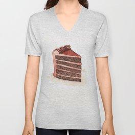 Chocolate Layer Cake Slice Unisex V-Neck