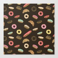 donuts Canvas Prints featuring Donuts by Julia Badeeva