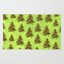 Sparkly Gold Christmas tree on abstract green paper Rug