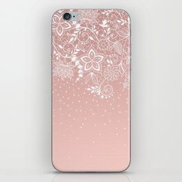 Elegant white lace floral and confetti design iPhone Skin