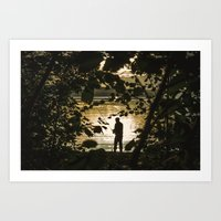 fishing Art Prints featuring Fishing by Svetlana Korneliuk
