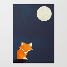 Origami Fox and Moon Canvas Print