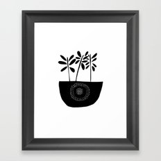 Three Stems Black and White Flowers Framed Art Print