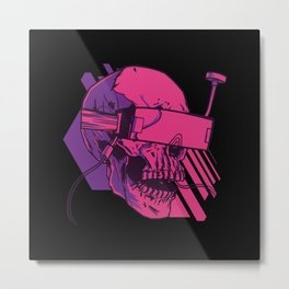 Skull FPV Goggles Drone Design Metal Print
