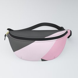 Abstract geometrical pastel pink black triangles Fanny Pack