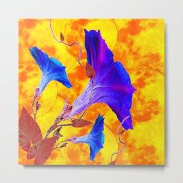 Purple & Blue Morning Glories Gold Art Metal Print