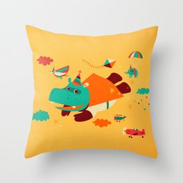 Super Hippo! Throw Pillow