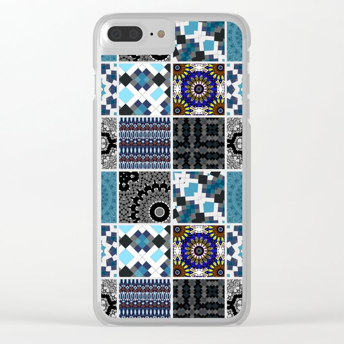 Patchwork . Blue , black and grey . Clear iPhone Case