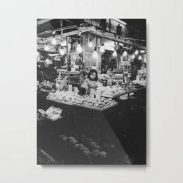 fruit shop (black and white) Metal Print