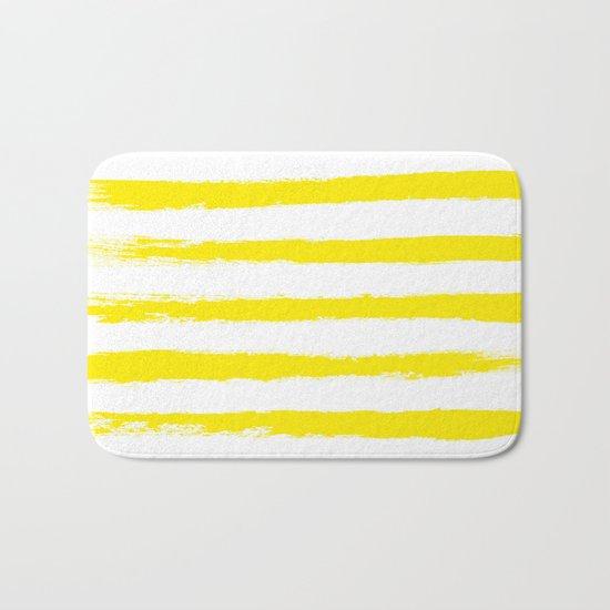 Sunny Yellow STRIPES Handpainted Brushstrokes Bath Mat