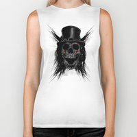hat Biker Tanks featuring Skull Hat by Fathi