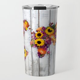 French Floral Bouquet on Rustic Upcycled Palette Wood World Map Art Travel Mug