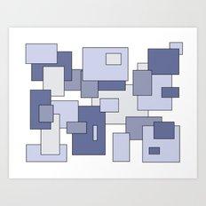 Squares - blue. Art Print