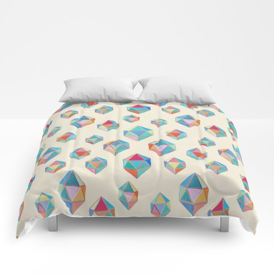 Floating Gems - a pattern of painted polygonal shapes Comforters