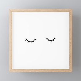 Closed eyes, just eyelashes Framed Mini Art Print