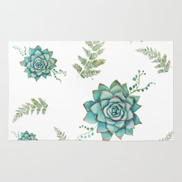 Fern and Succulent Pattern Rug