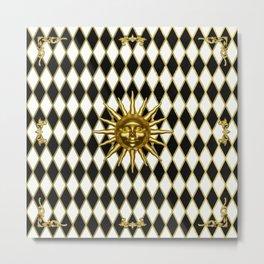 Golden Sun - Black & Gold Diamonds Metal Print