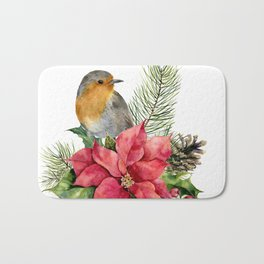 Merry Christmas. Watercolor Bath Mat