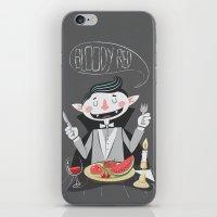 vegan iPhone & iPod Skins featuring Vegan Vampire by Ukko