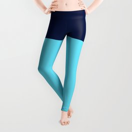 Two Blues Minimalist Color Block in Bright Turquoise and Navy Blue Leggings