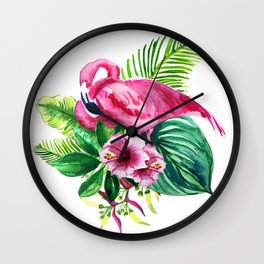 watercolor illustration of a pink flamingo with tropical castings and flowers Wall Clock