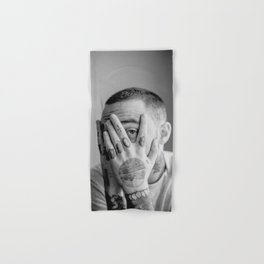 Mac Miller Black And White Portrait Hand & Bath Towel