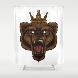 Roaring Bear With Crown | Wilderness Forest Tough Shower Curtain