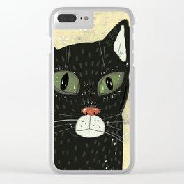 Black cat stare Clear iPhone Case